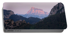 Portable Battery Charger featuring the photograph Pena Montanesa Glowing Red by Stephen Taylor