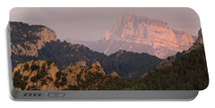 Portable Battery Charger featuring the photograph Pena Montanesa Sunset Panorama by Stephen Taylor