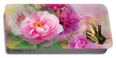 Peonies And Butterfly Portable Battery Charger