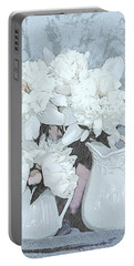 Peonies With Blue Background 3528 Portable Battery Charger