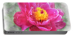 Peony And Bee Portable Battery Charger