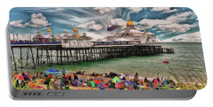 Portable Battery Charger featuring the photograph People And The Pier by Leigh Kemp