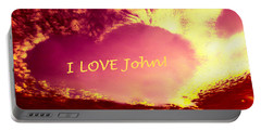 Personalized Heart For John Portable Battery Charger