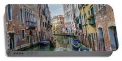 Gondolier On Canal Venice Italy Portable Battery Charger