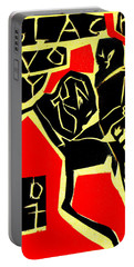 Piano Player Black Ivory Woodcut Poster 31 Portable Battery Charger