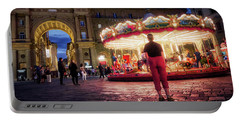 Piazza Della Reppublica At Night In Firenze With Painterly Effects Portable Battery Charger