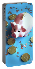 Piggy Bank On The Background With The  Chocoladen Coins Portable Battery Charger
