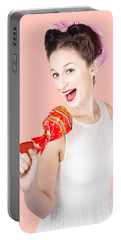 Pin-up Girl Singing Into Large Lollypop Microphone Portable Battery Charger