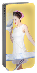 Pin Up Woman Providing Steam Clean Ironing Service Portable Battery Charger
