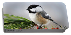 Portable Battery Charger featuring the mixed media Pine Chickadee by Christina Rollo