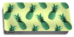Pineapple Pattern - Tropical Pattern - Summer- Pineapple Wall Art - Blue, Beige - Minimal Portable Battery Charger