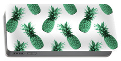 Pineapple Pattern - Tropical Pattern - Summer- Pineapple Wall Art - Blue, White - Minimal Portable Battery Charger