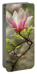 Pink And White Blooming Magnolia Portable Battery Charger