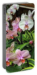 Pink And  White Orchids Portable Battery Charger