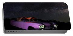 Pink Cadillac In The Desert Under The Milky Way Portable Battery Charger