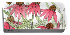 Pink Coneflowers Gather Watercolor Portable Battery Charger