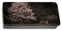 Pink Dogwood Tree And A Bench Portable Battery Charger
