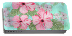 Pink Hibiscus Print On Aqua Portable Battery Charger