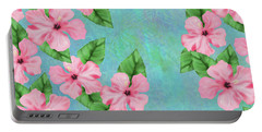 Pink Hibiscus Tropical Floral Print Portable Battery Charger