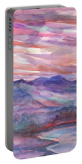 Pink Mountain Landscape Portable Battery Charger