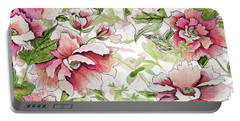 Pink Peony Blossoms Portable Battery Charger