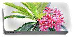Pink Plumeria Flowers And Leaves Portable Battery Charger
