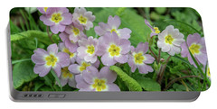 Pink Primroses In Devon Portable Battery Charger