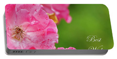 Pink Roses Best Wishes Portable Battery Charger