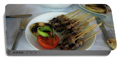 Plate Of Kebabs And Salad For Lunch Portable Battery Charger