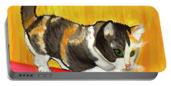 Portable Battery Charger featuring the painting Playful Kitten by Dobrotsvet Art