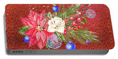 Poinsettia With Blue Ornaments  Portable Battery Charger