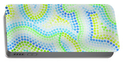 Pointillism - Blue And Green Curves Portable Battery Charger