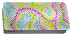 Pointillism - Palm Beach Pink And Green Portable Battery Charger