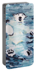 Portable Battery Charger featuring the painting Polar Bear by Maria Langgle