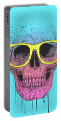Pop Art Skull With Glasses Portable Battery Charger