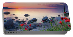 Poppies By The Sea Portable Battery Charger