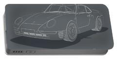 Porsche 959 - White Blueprint On Grey Portable Battery Charger