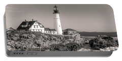 Portable Battery Charger featuring the photograph Portland Head Light Black And White by Dan Sproul