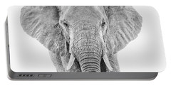 Portrait Of An African Elephant Bull In Monochrome Portable Battery Charger