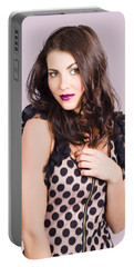 Portrait Of Beautiful Brunette Woman. Vogue Style Portable Battery Charger