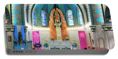 Praying At The Immaculate Heart Of Mary Church - San Antonio - Painted Church Portable Battery Charger