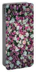 Pretty Pattern Of Pink And White Roses Portable Battery Charger