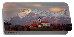 Prezganje Church With Snowy Kamnik Alps In The Background. Portable Battery Charger