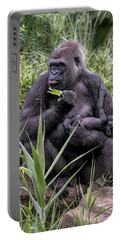 Portable Battery Charger featuring the photograph Proud Mama Silverback 6243 by Donald Brown