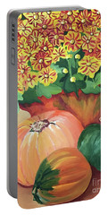 Pumpkin With Flowers Portable Battery Charger