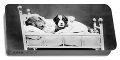 Puppies In Bed - When Bedtime Comes - Harry Whittier Frees  Portable Battery Charger