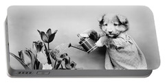 Puppy Watering Flowers - Harry Whittier Frees Portable Battery Charger