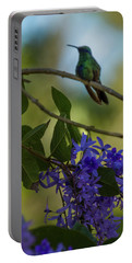 Purple Blossoms And Hummingbird Portable Battery Charger