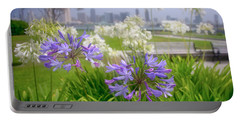 Purple Flowers In San Diego Portable Battery Charger
