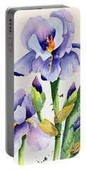 Purple Iris And Buds Portable Battery Charger
